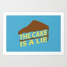 The Cake Is A Lie (Blue Version) Art Print