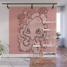 Happy Octopus Squid Kraken Cthulhu Sea Creature - Blooming Dahlia Pink Wall Mural