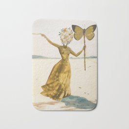 Vintage poster-Salvador Dali-Woman with a butterfly.  Bath Mat