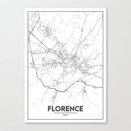 Minimal City Maps - Map Of Florence, Italy. Canvas Print