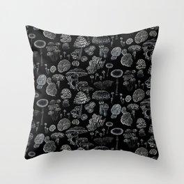 Mycology Black Throw Pillow