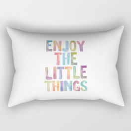 Enjoy the Little Things Watercolor Rainbow Design Inspirational Quote bedroom Wall Art Home Decor Rectangular Pillow