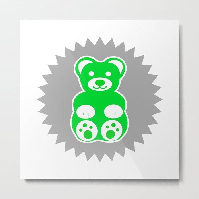 Green Teddy Bear Metal Print