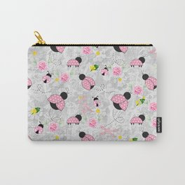Pretty in Pink Roses Ladybugs Dragonfly Carry-All Pouch