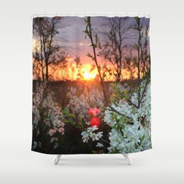 Spring Blossoms Sunset Shower Curtain