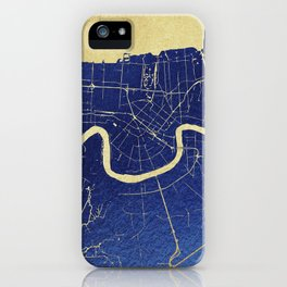 New Orleans Blue and Gold Map iPhone Case