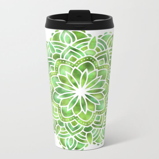 Mandala Green Leaves Metal Travel Mug