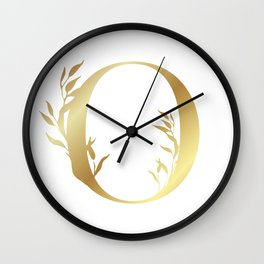 Monogram Gold Letter O Wall Clock