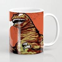 godzilla Mugs featuring Godzilla by HAZZAH!