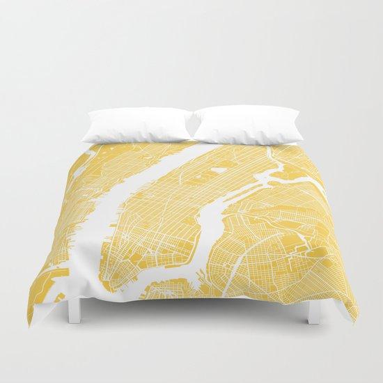 Manhattan map yellow Duvet Cover
