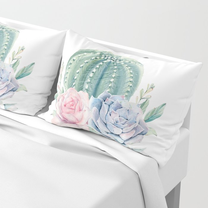 Cactus Rose Succulents Pillow Sham