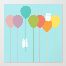 Fluffy bunnies and the rainbow balloons Canvas Print