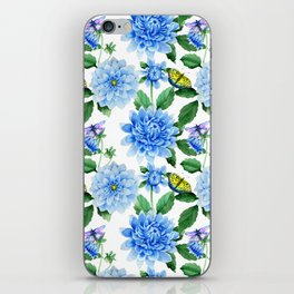 Hand painted blush blue pink yellow watercolor floral butterfly iPhone Skin