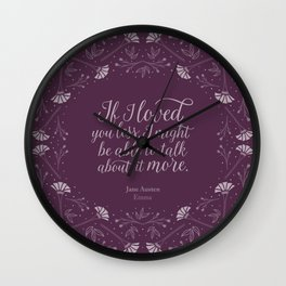 Purple Floral Love Quote  Emma Jane Austen Wall Clock