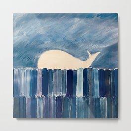 whale horizon blue blocks Metal Print