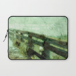 Wood Rail At Beach Laptop Sleeve