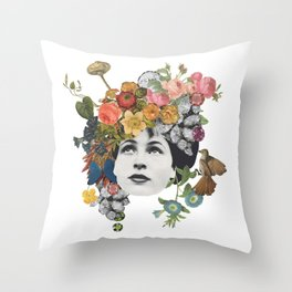 Head in the Flowers Throw Pillow