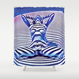 9665s-KMA_5201 Powerful Blue Woman Open Free Striped Sensual Sexy Abstract Nude Shower Curtain