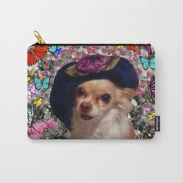 Chi Chi in Yellow, Orange, Red Rainbow Butterflies, Chihuahua Puppy Dog Carry-All Pouch