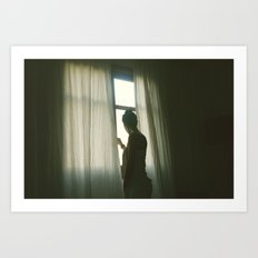 girl in morning window light Art Print