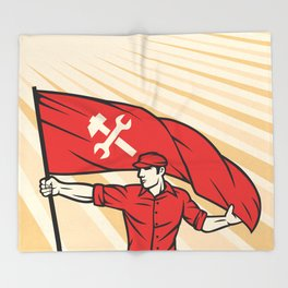 worker holding a flag - industry poster (design for labor day) Throw Blanket
