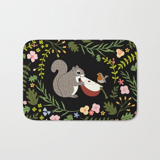 Friendship in Wildlife_Squirrel and Robin_Bg Black Bath Mat
