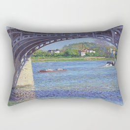 """Gustave Caillebotte """"The Argenteuil Bridge and the Seine"""" Rectangular Pillow"""