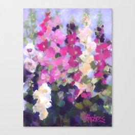 Pink Hollyhocks in My Garden Canvas Print