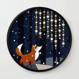 Fox and stars Wall Clock