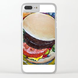 The Hamburger with Mustard, Pickle and Tomato Clear iPhone Case