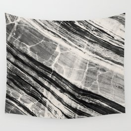 Abstract Marble - Black & Cream Wall Tapestry