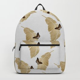 Butterfly & Palm Leaf, Gold Wall Art Backpack