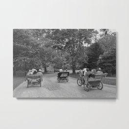 Strolling in Central Park B&W photo Metal Print