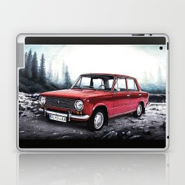 RUSSIAN LADA IN RED WITH SLOVAKIA TATRY MOUNTAINS IN THE BACKGROUND Laptop & iPad Skin