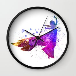 Elsa The Snow Queen in watercolor Wall Clock