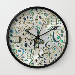 Golden Framed  Musical notes pattern abalone shell Wall Clock