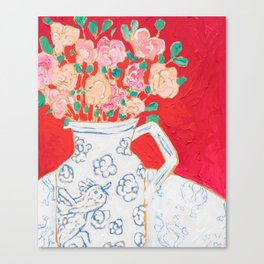 Delft Bird Pitcher on Red Background Canvas Print