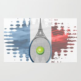 Racquet Eiffel Tower with French flag colors in background Rug