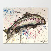 trout Canvas Prints featuring rainbow trout by Tricia Kibler