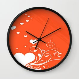White Valentine Hearts On Red Background Wall Clock