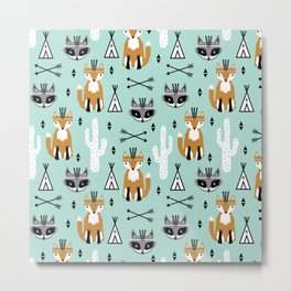 Fox and raccoon cute kids pattern teepee arrows southwest animals girls and boys decor Metal Print