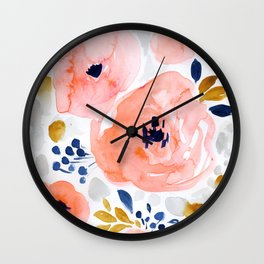Sweet Blush Floral, gold, gray, blue Wall Clock