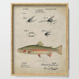 Vintage Rainbow Trout Fly Fishing Lure Patent Game Fish Identification Chart Serving Tray