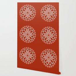 Red Art Nouveau Design Wallpaper