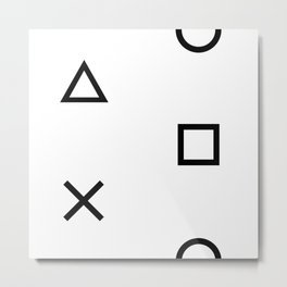 Playstation Controller Pattern (Black on White) Metal Print