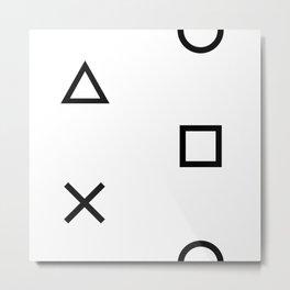 Playstation Controller Pattern (Black on White) Metal Print