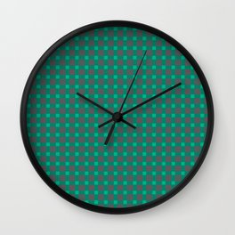 Green gray , plaid Wall Clock