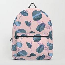Modern pink teal watercolor hand painted stones floral Backpack