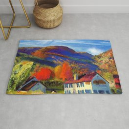 My House in Woodstock landscape painting by George Wesley Bellows Rug