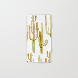 Minimalist Cactus Drawing Watercolor Painting Southwestern Green Cacti Hand & Bath Towel